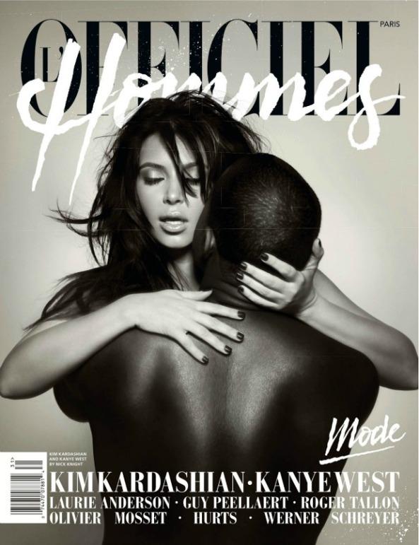 کیم کارداشیان حامله و دوست پسرش کانیه وست در مجله ی L'Officiel Hommes