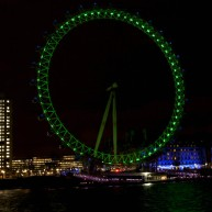 چرخ و فلک مشهور لندن هم برای روز سن پاتریک سبز شده