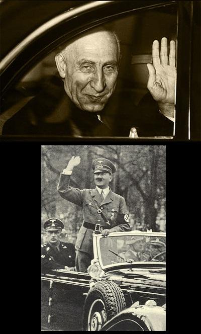 شباهت سلام نازی مصدق در ماشین به شباهت سلام نازی هیتلر در ماشین