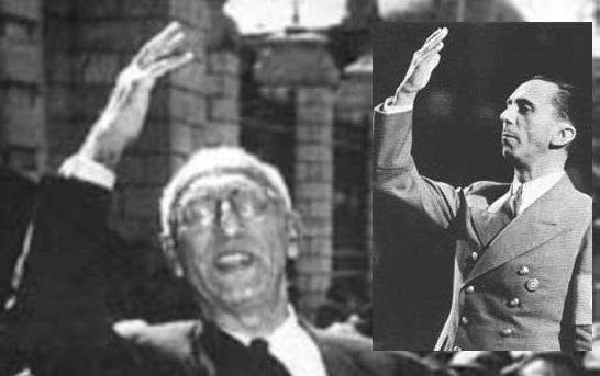 شباهت ژست دکتر محمد مصدق به دکتر یوزف گوبلز وزیر تبلیغات نازی