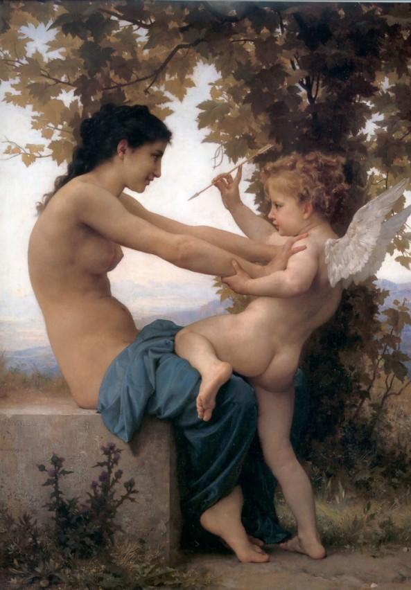 یک دختر جوان در برابر اروس (خدای عشق جنسی) مقاومت میکند / سال ۱۸۸۰