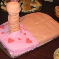 adult pink underware with hearts with a dirty wrikled dick torso cake