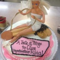 Blonde bombshell riding long shaft big dick on personal erotic cake