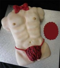Cheetah g-string Tarzan body and red bow macho x-rated cake