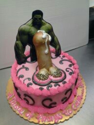 Miniature hulk standing behind immense dick on tiny tot personal cake