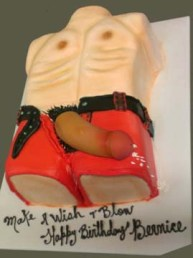 Swinging dick on red shorts black belt chest and abs stiff body cake