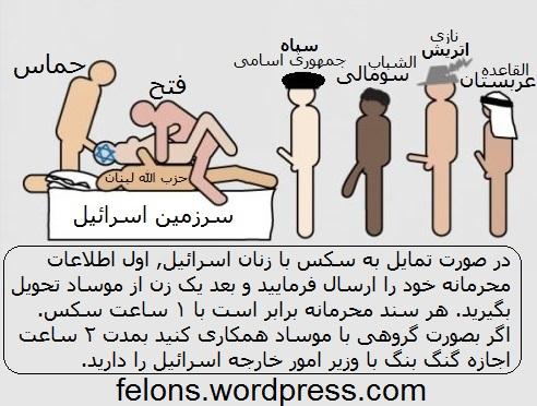 در صورت تمایل به سکس با زنان اسرائیل, اول اطلاعات محرمانه خود را ارسال فرمایید و بعد یک زن از موساد تحویل بگیرید. هر سند محرمانه برابر است با ۱ ساعت سکس. اگر بصورت گروهی با موساد همکاری کنید بمدت ۲ ساعت اجازه گنگ بنگ با وزیر امور خارجه اسرائیل را دارید.