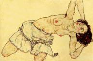 Kniender Halbakt nach links gebeugt , 1917