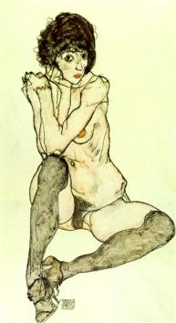 Nu feminin assis aux bas bleus, 1914
