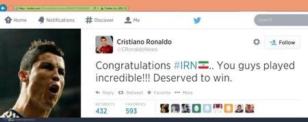 توئیت کريستيانو رونالدو: ايران شايسته برد بود